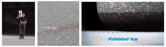 얼음 위에 페블을 만들기 위해 물을 뿌리는 모습(왼쪽), 페블이 만들어진 빙판(가운데), 페블 위를 지나가는 스톤(오른쪽) - https://www.nsf.gov/news/special_reports/olympics/curling.jsp 캡처 제공